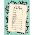 menu list for coffee vector image