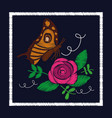 embroidery roses and butterfly ornament for the vector image