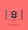 isolated linear icon - internet using on laptop vector image