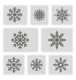 monochrome icons with snowflakes vector image