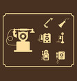 retro phone icon set vintage light icons vector image