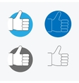 Thumbs Up Thin Line Icon Set vector image