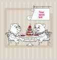 two hand drawn white cute teddy bear eating cake vector image