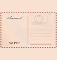 travel postcard in air mail style with paper vector image