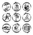 Travel and vacation stamp collection vector image vector image