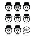 Man in hat faces icons set vector image