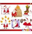 santa claus and christmas cartoon set vector image