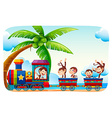 Monkeys sitting on a train at beach side vector image vector image