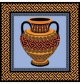Frame and amphora with Greek ornament Meander vector image