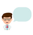 cute funny smiling doctor with speaking bubble vector image