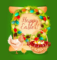 Easter spring holiday greeting card design vector image
