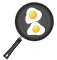 fried eggs in a frying pan 01 vector image