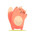 funny happy red cat standing with raised paws vector image