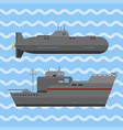 military technic army war ship and industry vector image