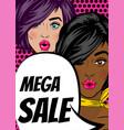 pop art woman mega sale banner speech bubble vector image