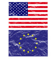 usa and euro flag vector image