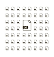 Large set of simple black file icons with most