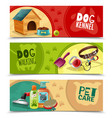 pet care 3 horizontal banners set vector image