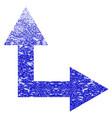 bifurcation arrow right up grunge textured icon vector image