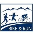 marathon runner bike cycle run race vector image