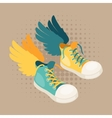 Design with sneakers and wings in hipster style vector image vector image
