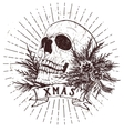 Christmas skull with fir branches vector image