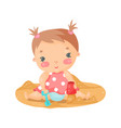 cute cartoon baby girl playing with sand colorful vector image