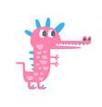 cute funny little pink dinosaur pehistoric animal vector image