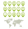 Ecology buttons set and world map vector image