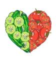 heart vegetables set vector image