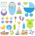 set of baby boy elements vector image