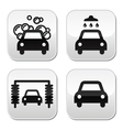Car wash buttons set - vector image