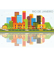 Rio De Janeiro Skyline with Color Buildings vector image