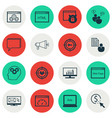 set of 16 advertising icons includes website vector image