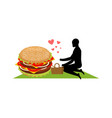 lover fast food man and hamburger on picnic guy vector image