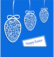 Elegant Easter eggs and card on blue background vector image