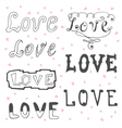 Love Valentines day typography elements Sketchy vector image