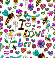 seamless pattern I love bee vector image