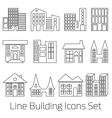 line Building Icons Set vector image