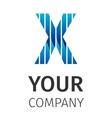 Abstract blue logo X vector image