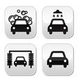 Car wash buttons set - vector image