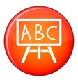 Chalkboard with the leters ABC icon flat style vector image