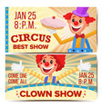 circus clown horizontal banners template vector image