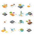 cooking or preparation food icons set isometric vector image