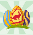 easter eggs painted with spring decoration retro vector image