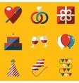 Flat icon set Holiday Love vector image