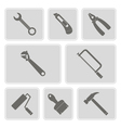 monochrome icons with tools related vector image