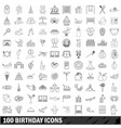 100 birthday icons set outline style vector image