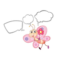 A pink butterfly with empty callouts vector image vector image