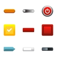 Button types icons set flat style vector image